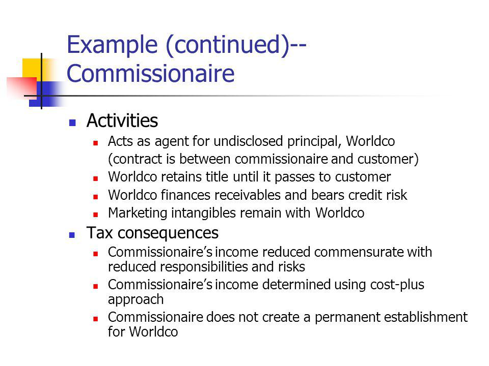 Example (continued)--Commissionaire