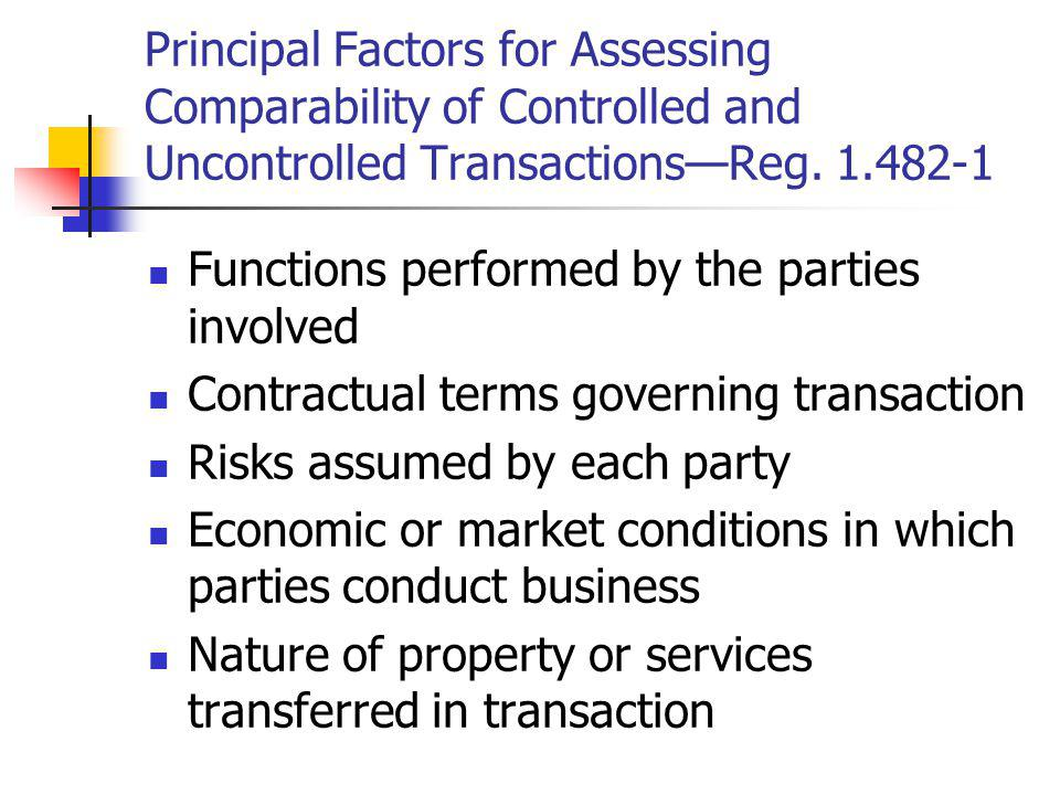 Principal Factors for Assessing Comparability of Controlled and Uncontrolled Transactions—Reg. 1.482-1