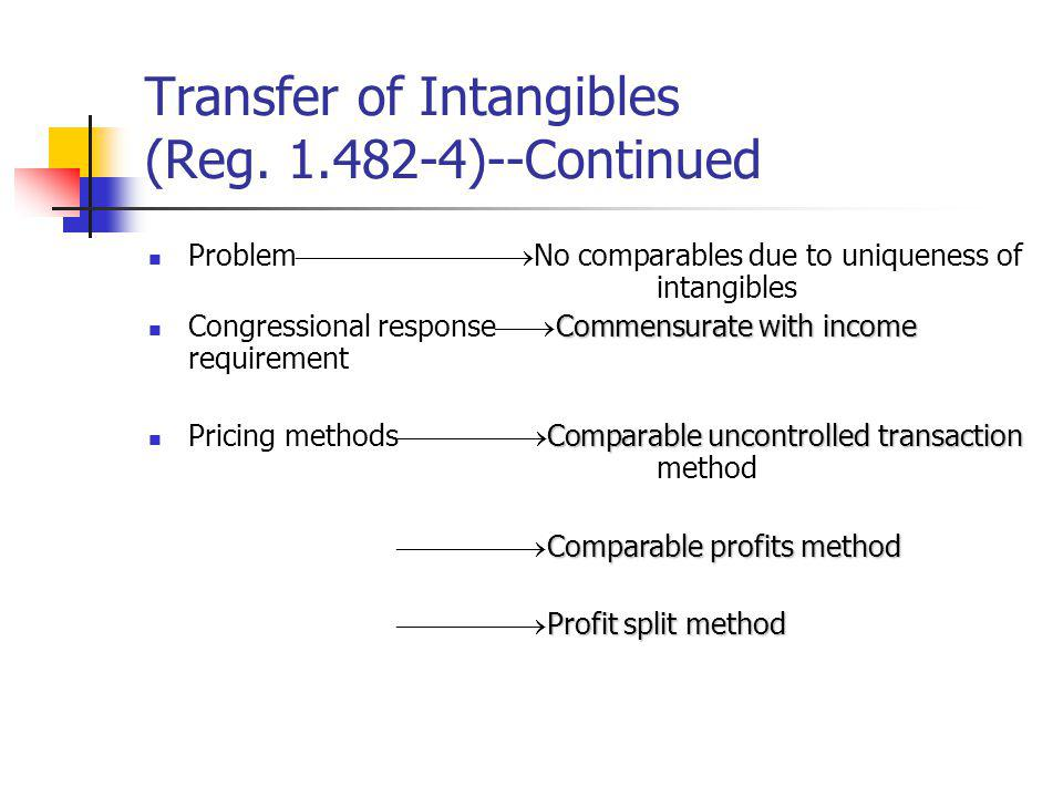 Transfer of Intangibles (Reg. 1.482-4)--Continued