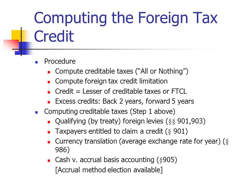 Computing the Foreign Tax Credit