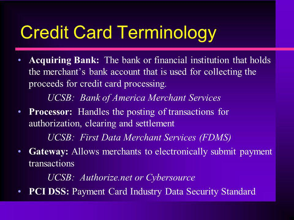 Credit Card Terminology