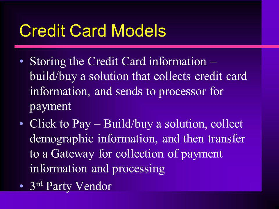 Credit Card Models
