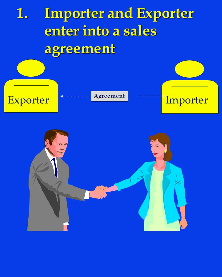 1. Importer and Exporter enter into a sales agreement