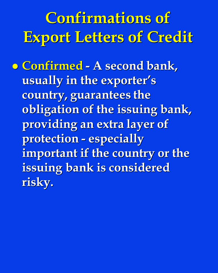 Confirmations of Export Letters of Credit