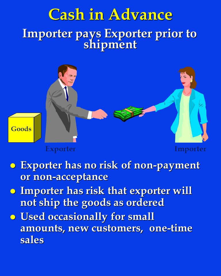 Importer pays Exporter prior to shipment