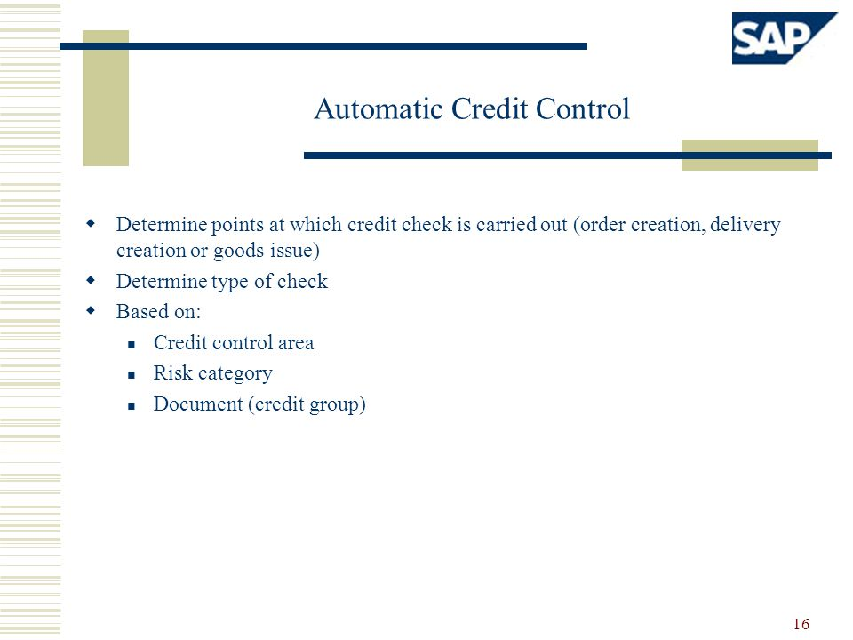 Automatic Credit Control