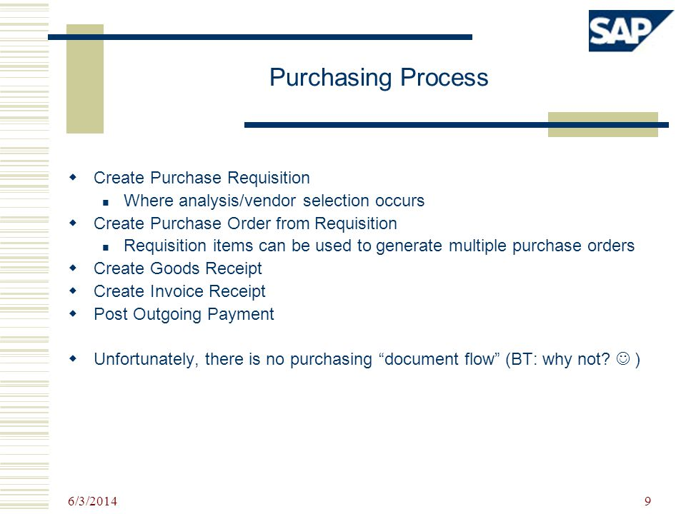 Purchasing Process Create Purchase Requisition