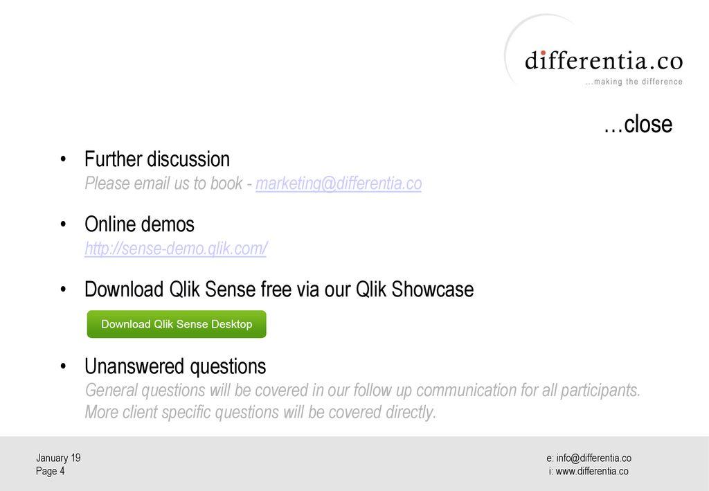 Differentia Consulting Qlik Sense Webinar for Media & Entertainment