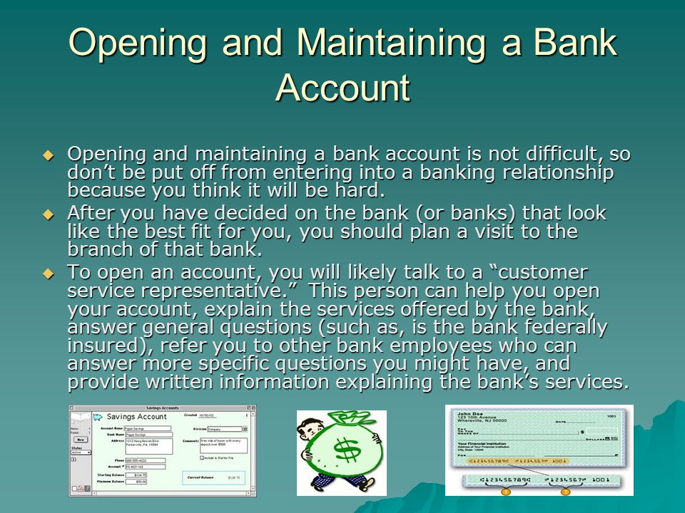 Opening and Maintaining a Bank Account