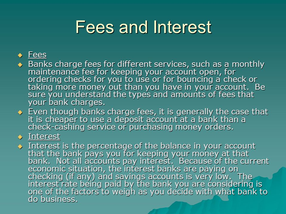 Fees and Interest Fees.
