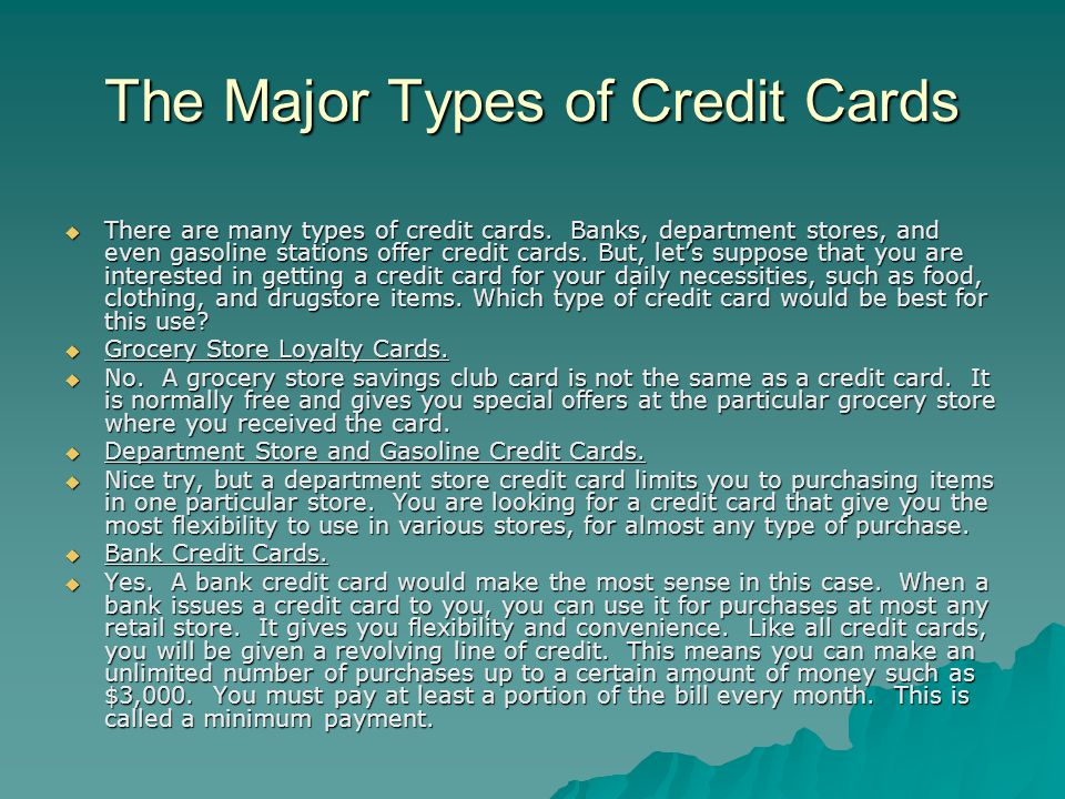 The Major Types of Credit Cards