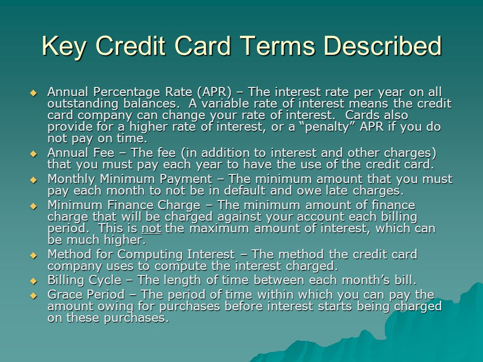 Key Credit Card Terms Described