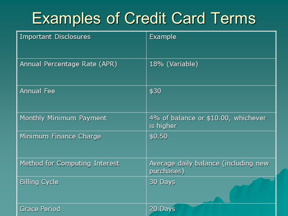 Examples of Credit Card Terms