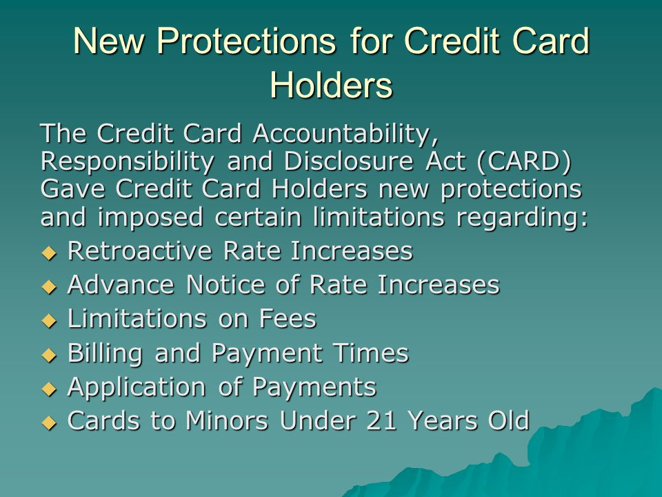 New Protections for Credit Card Holders