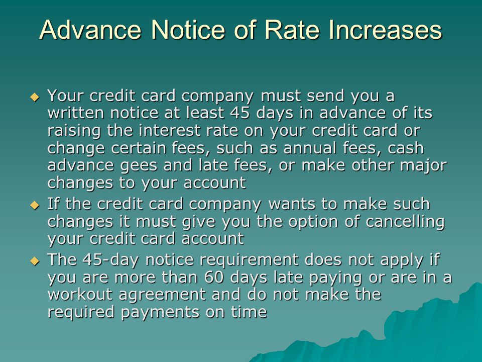 Advance Notice of Rate Increases