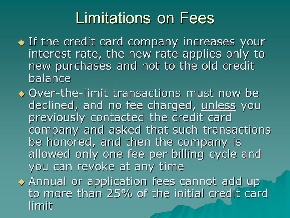 Limitations on Fees