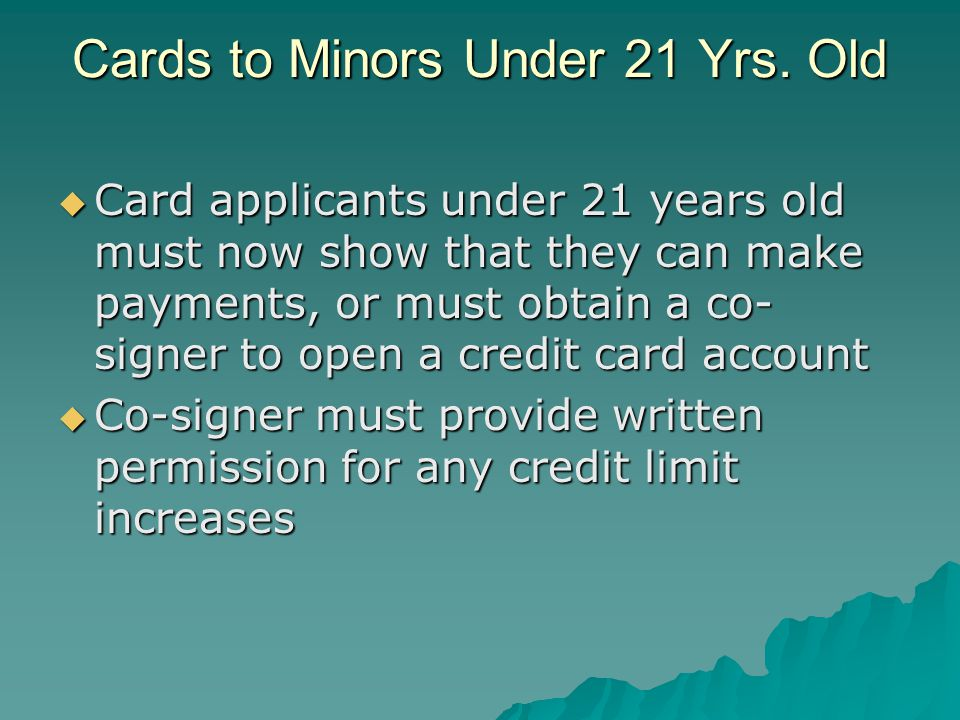 Cards to Minors Under 21 Yrs. Old