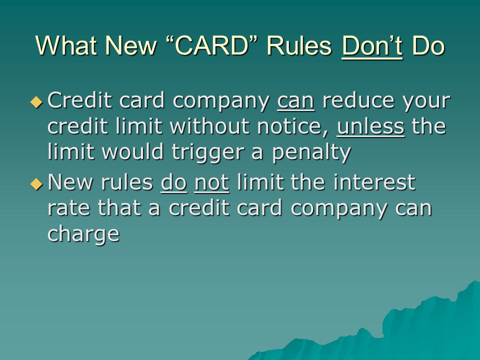 What New CARD Rules Don't Do
