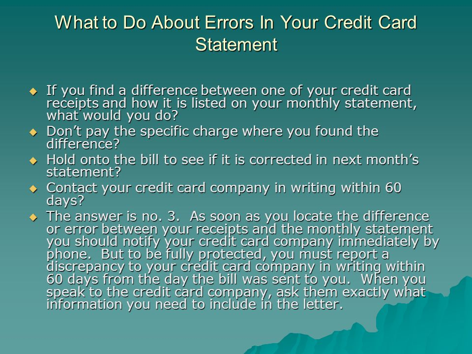 What to Do About Errors In Your Credit Card Statement