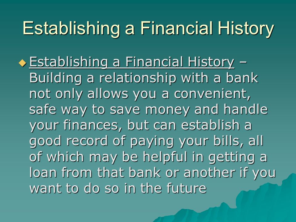 Establishing a Financial History