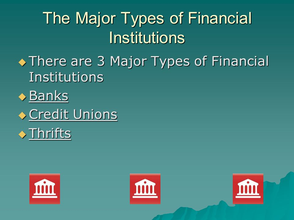 The Major Types of Financial Institutions