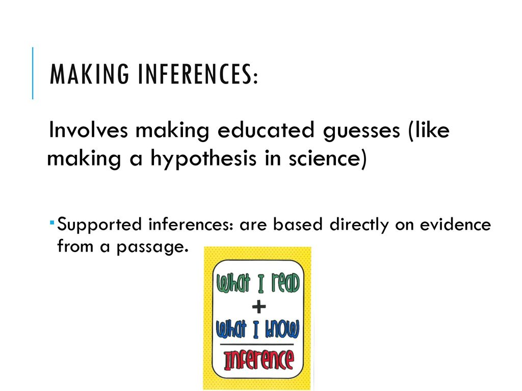 Making Inferences Drawing Conclusions Making Predictions