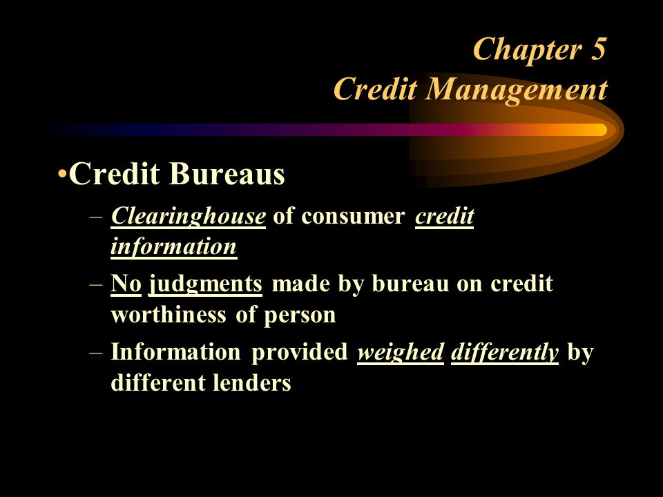 Chapter 5 Credit Management
