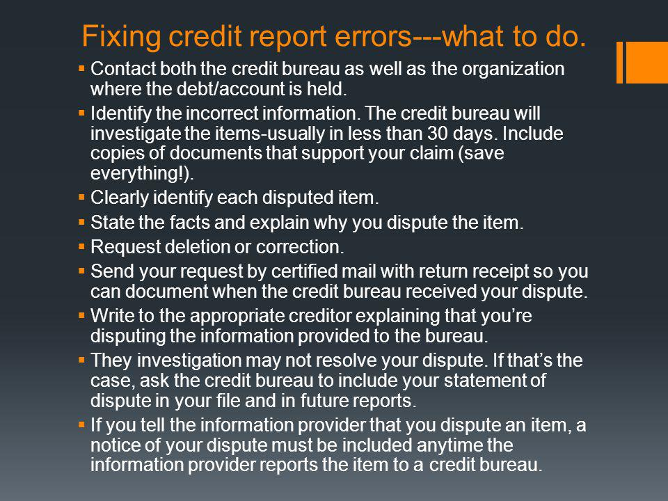 Fixing credit report errors---what to do.