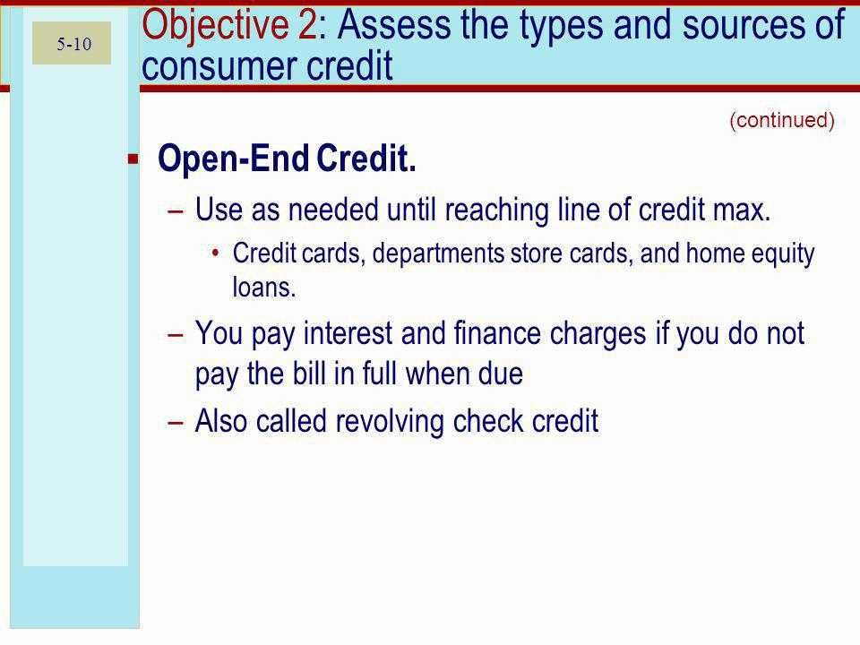 Objective 2: Assess the types and sources of consumer credit