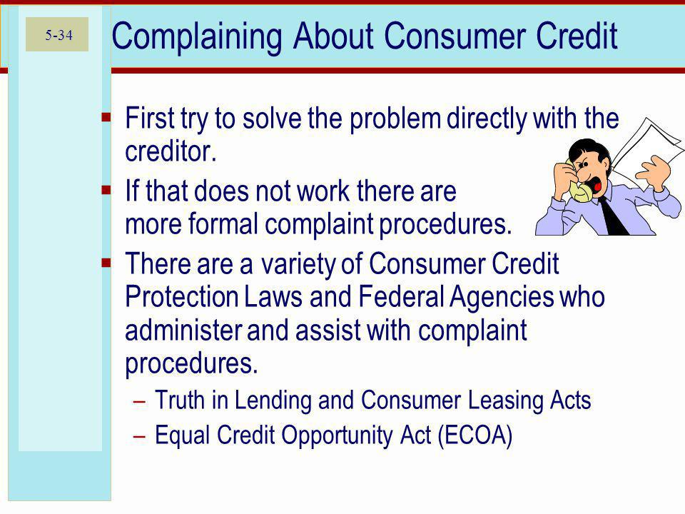 Complaining About Consumer Credit