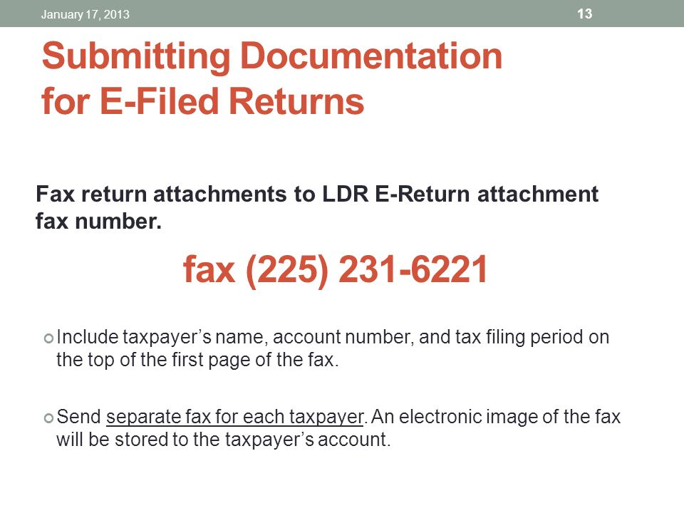 Submitting Documentation for E-Filed Returns