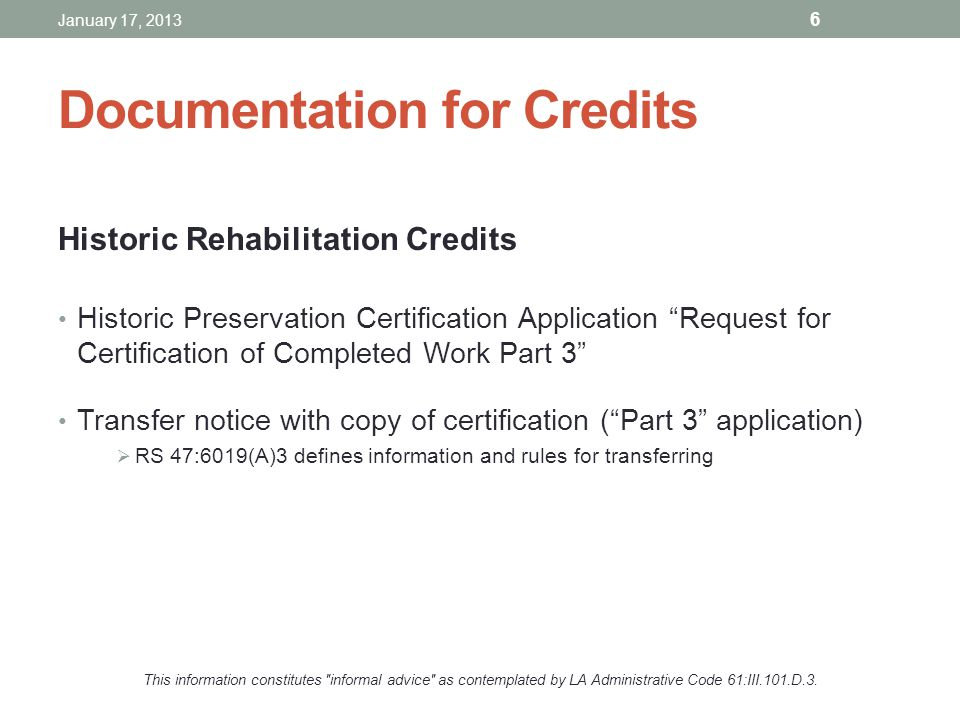 Documentation for Credits