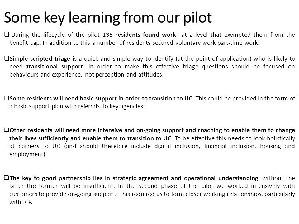 Some key learning from our pilot