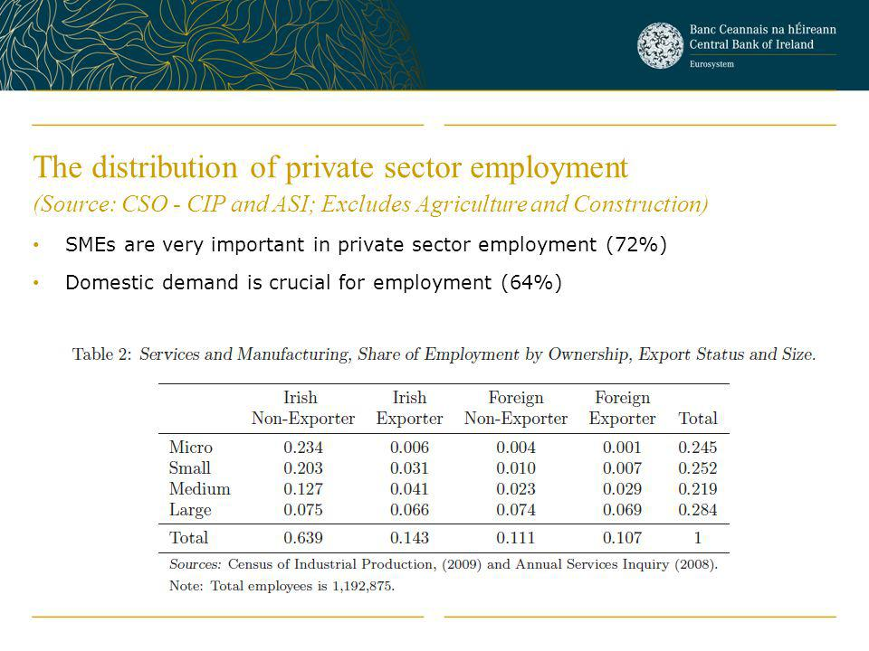 The distribution of private sector employment (Source: CSO - CIP and ASI; Excludes Agriculture and Construction)