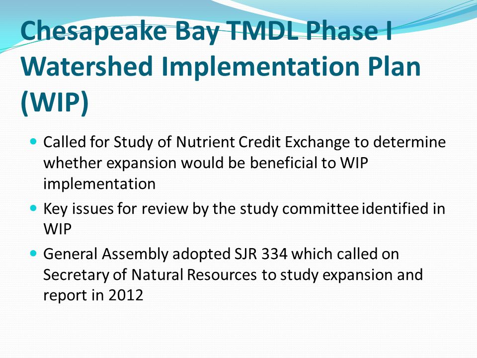Chesapeake Bay TMDL Phase I Watershed Implementation Plan (WIP)