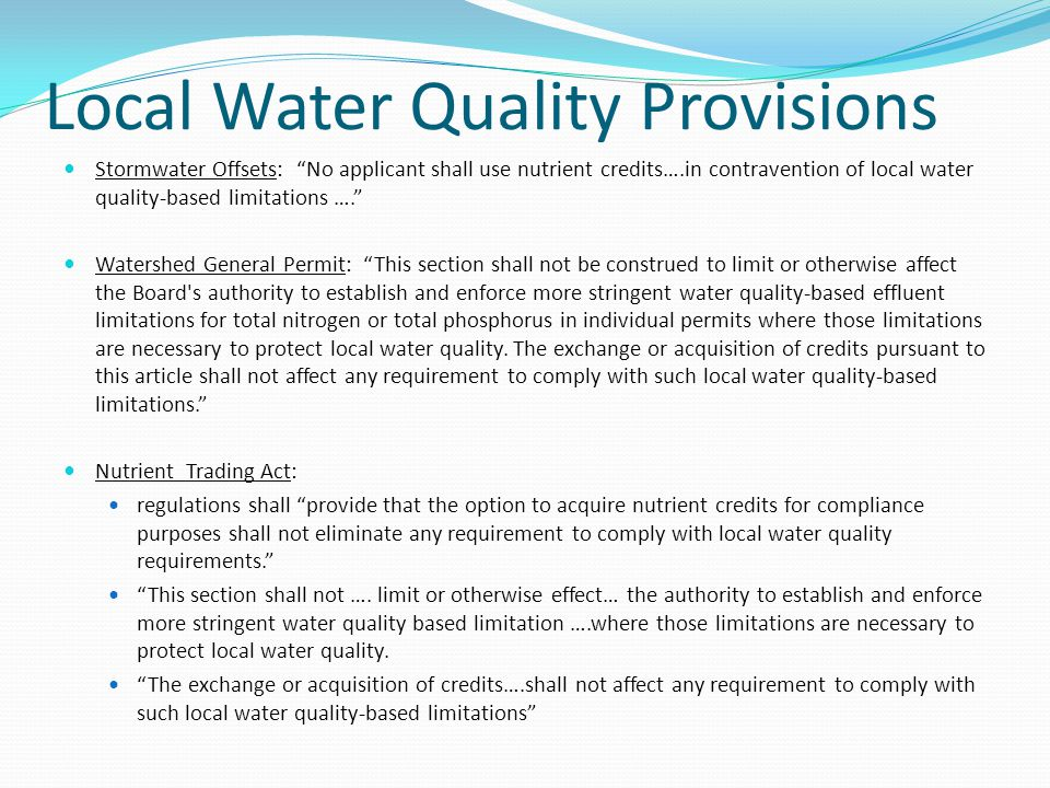 Local Water Quality Provisions