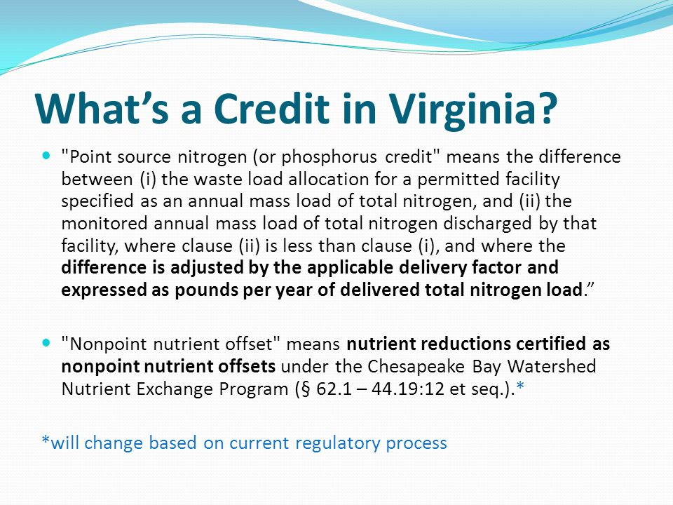 What's a Credit in Virginia