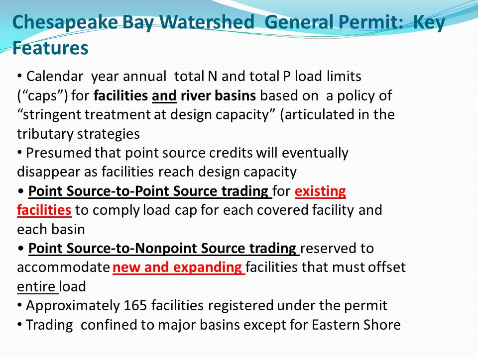 Chesapeake Bay Watershed General Permit: Key Features