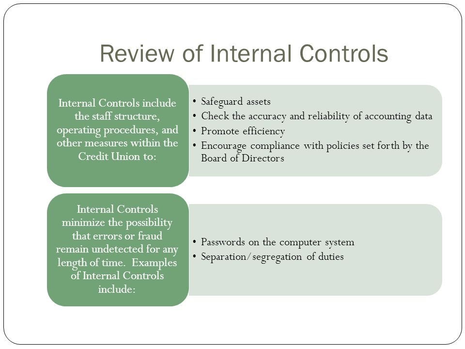 REVIEW OF THE SYSTEM OF INTERNAL CONTROL