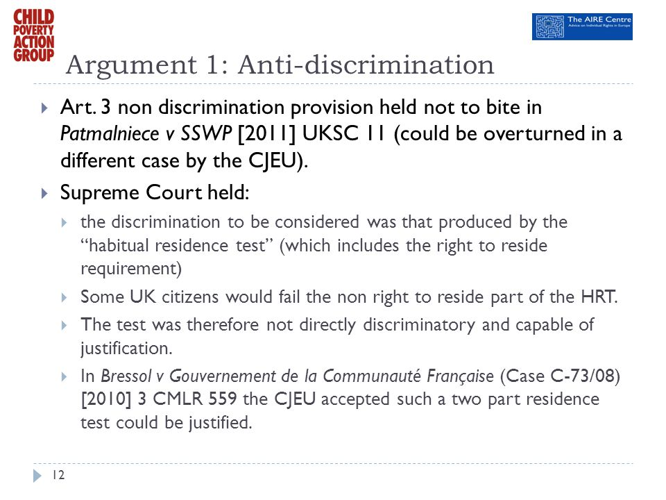 Argument 1: Anti-discrimination