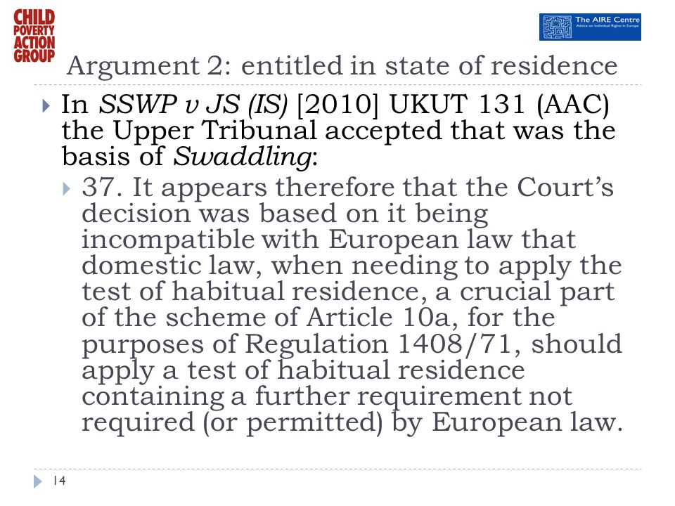Argument 2: entitled in state of residence