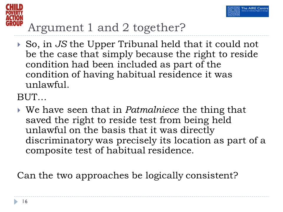 Argument 1 and 2 together