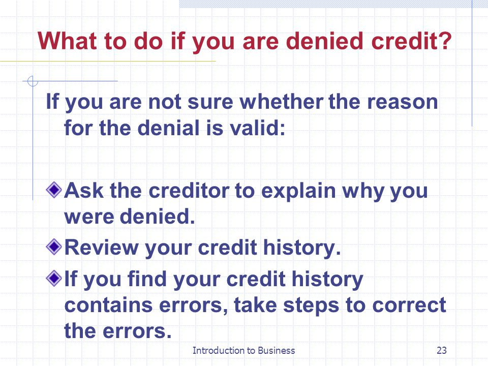 What to do if you are denied credit