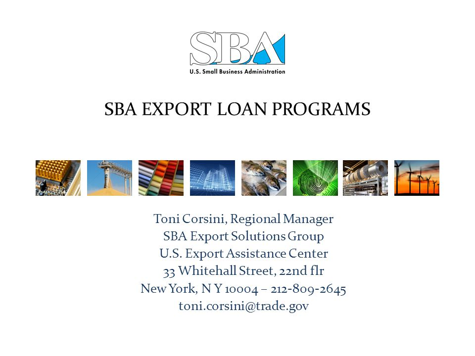 SBA EXPORT LOAN PROGRAMS