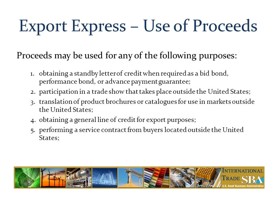 Export Express – Use of Proceeds
