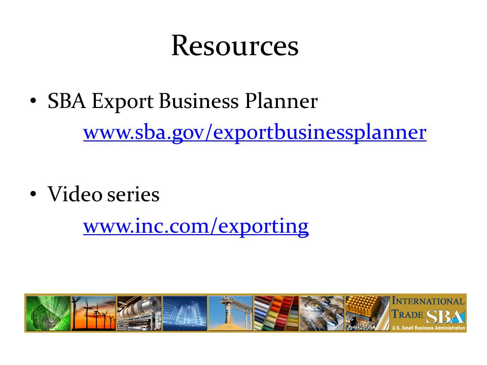 Resources SBA Export Business Planner