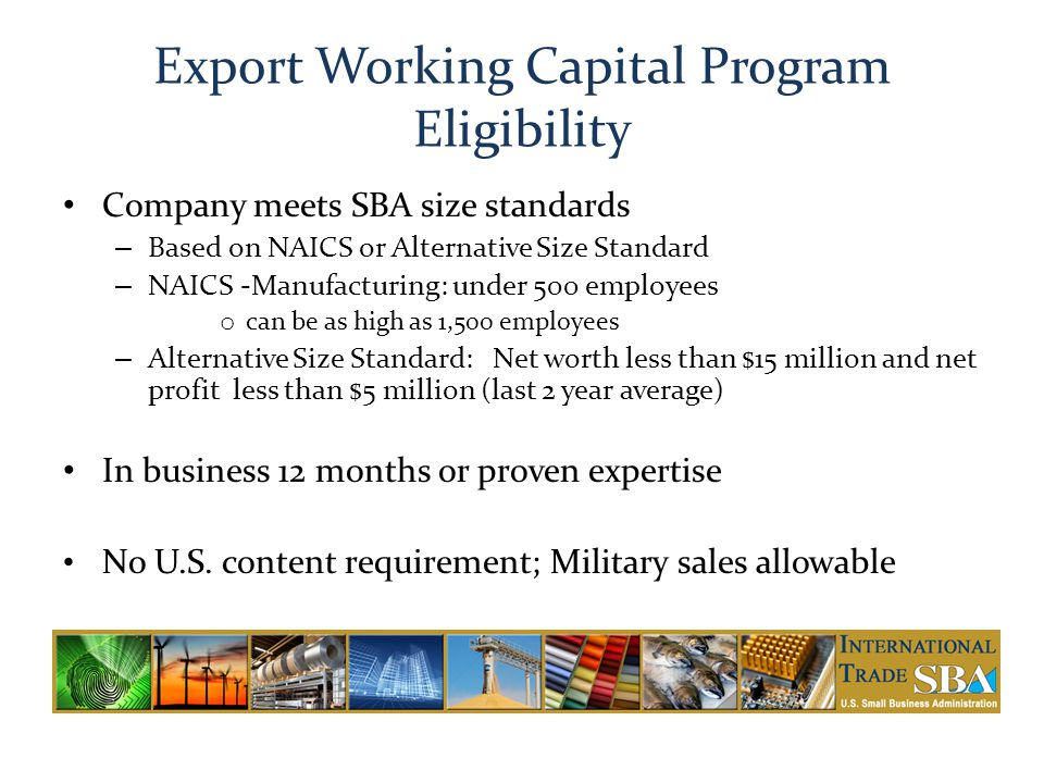 Export Working Capital Program Eligibility