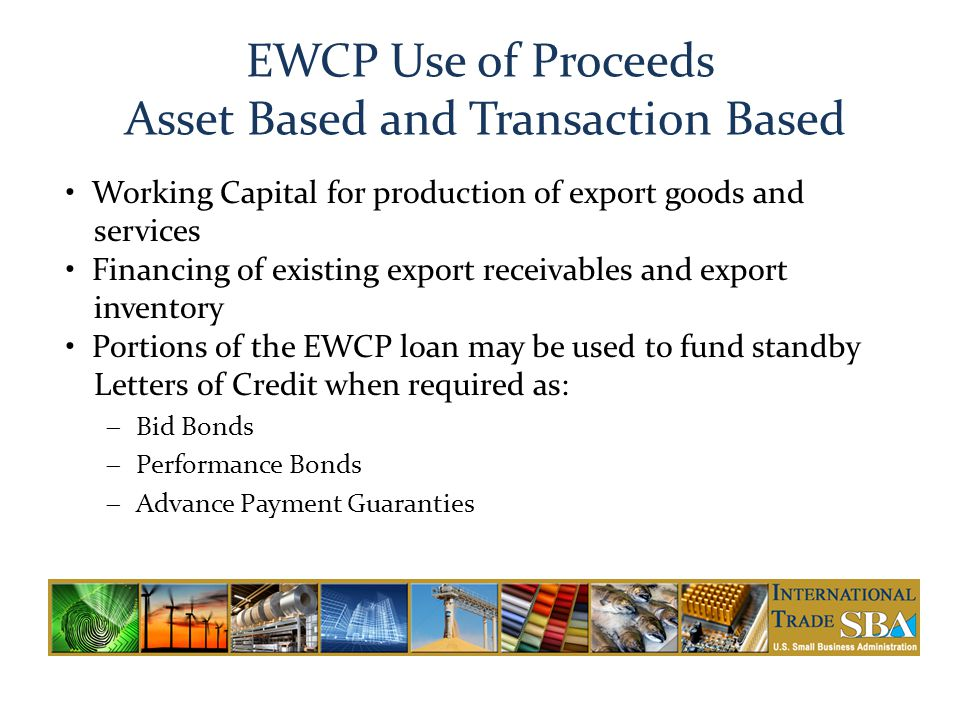 EWCP Use of Proceeds Asset Based and Transaction Based