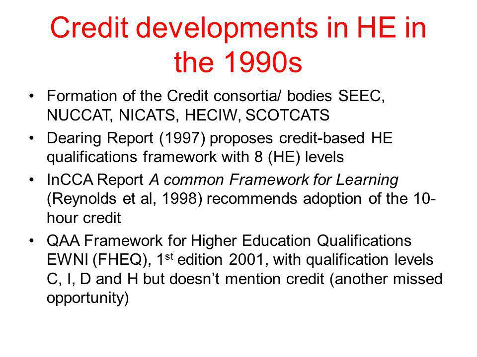 Credit developments in HE in the 1990s