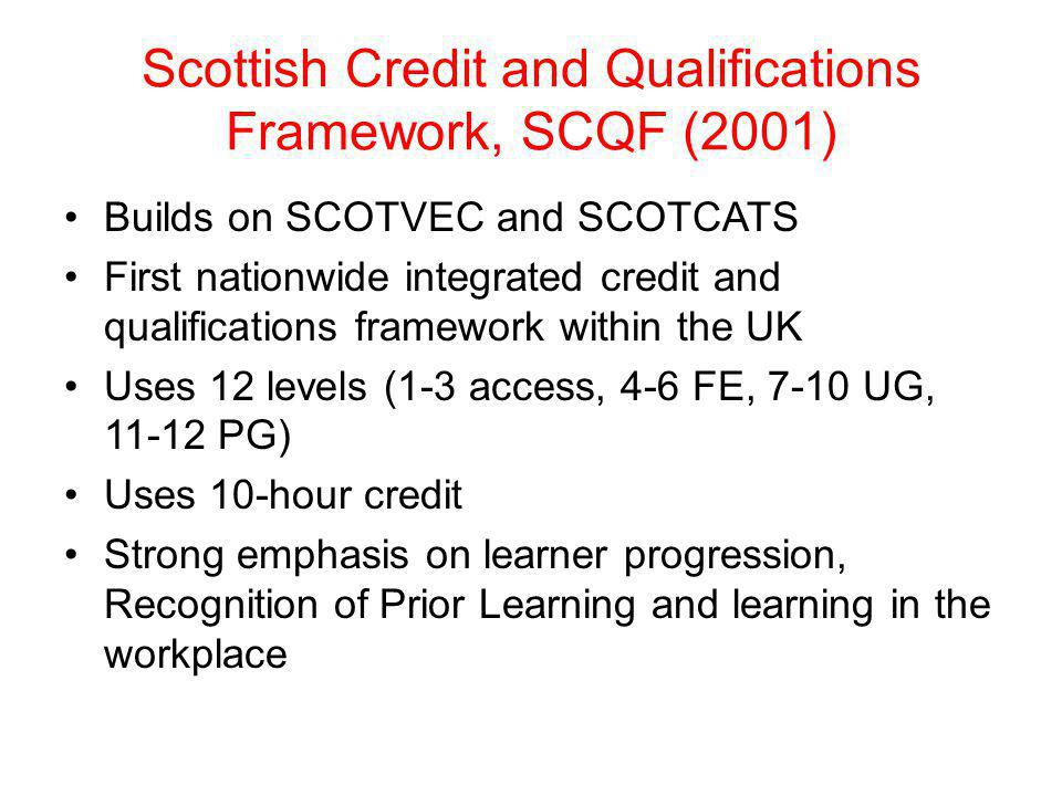 Scottish Credit and Qualifications Framework, SCQF (2001)